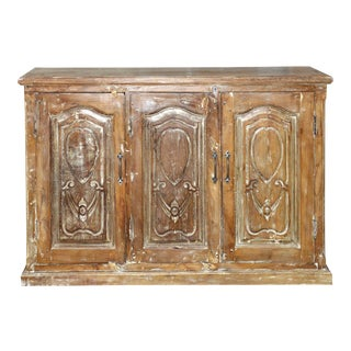 1920s Rustic Brown Sideboard Hand Carved Cabinet For Sale