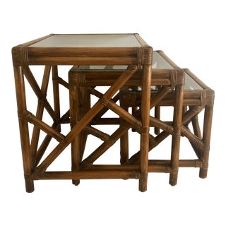 Mid-Century Bamboo Glass Top Nesting Table's - Set of 3 For Sale