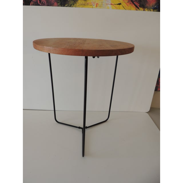 Folding Round Side Table With Wood Top and Pencil Legs For Sale In Miami - Image 6 of 6