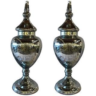 Hollywood Regency Mercury Glass Lidded Urns - A Pair