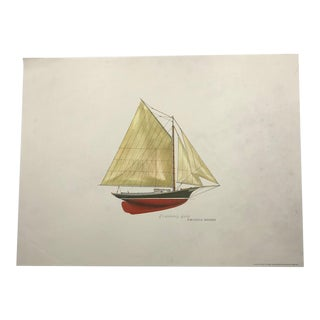Vintage 1966 Lithograph of the Friendship Sloop Amanda Morse With Related Vintage Flyer For Sale