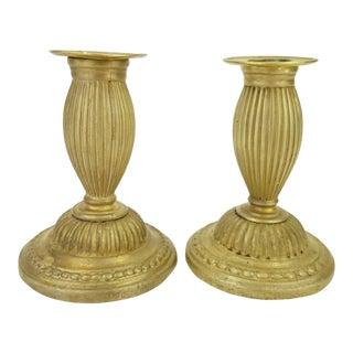 C1790 Antique Louis XVI Fire Gilt Bronze Candle Holders - a Pair For Sale