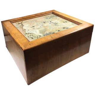 19th Century English Traditional Yew Wood Document Box With Needlework Under Glass For Sale