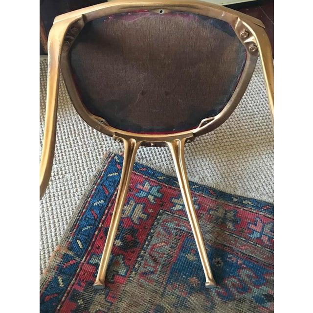 Metal Vintage Hollywood Regency Gilt Metal Chair For Sale - Image 7 of 10