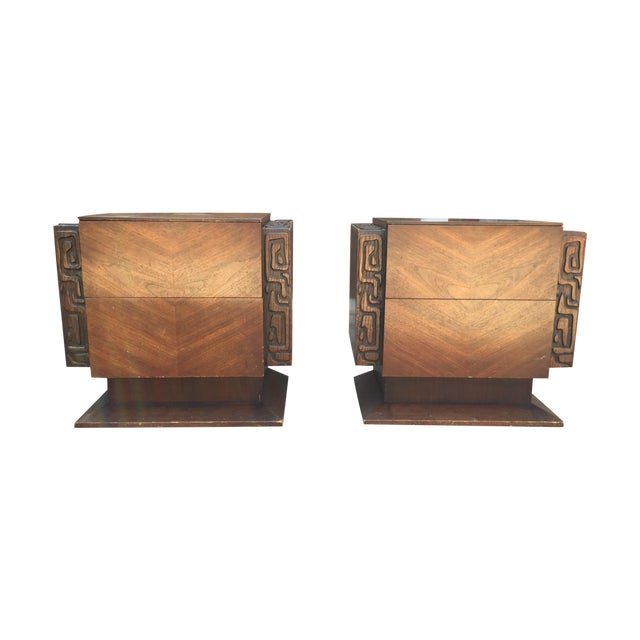 United Furniture Brutalist Side Tables - A Pair For Sale