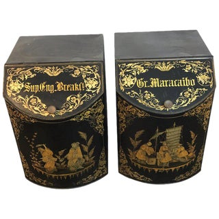 Pair of Antique Chinoiserie Tole Floor Model Tea Canisters by Henry Thoemner For Sale