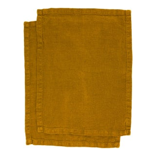 Once Milano Placemats in Linen Mustard - Set of 2 For Sale