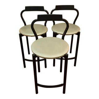 Vintage Black Mid Century Calligaris Stools- Set of 3 For Sale