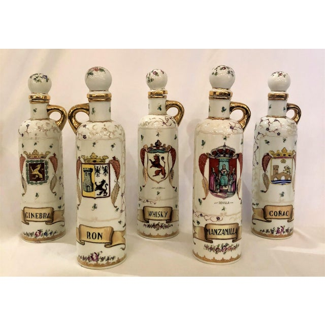 Mediterranean Set of 5 Antique 19th Century Spanish Liquor Bottles. (Rum, Gin, Sherry, Whiskey, Cognac) For Sale - Image 3 of 3