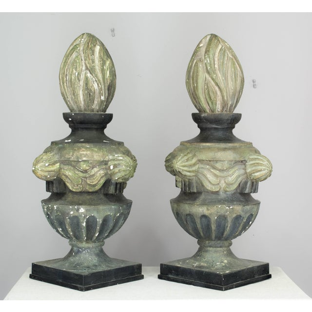 French Pair of French Zinc Architectural Finials For Sale - Image 3 of 11