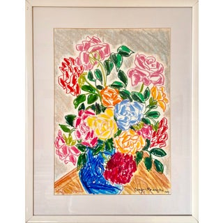 1980s Floral Still Life Pastel Drawing by Dragos Morarescu, Framed For Sale