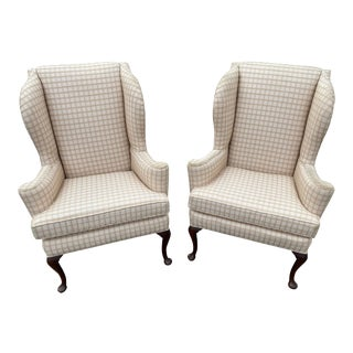 1960s Hickory Wingback Chairs- A Pair For Sale