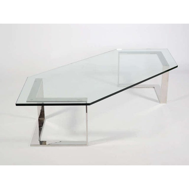 Chrome And Glass Coffee Table By Directional - Image 9 of 10