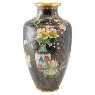 Large Chinese Cloisonné Vase With Floral Decoration For Sale