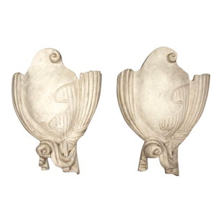 Mid Century Serge Roche Style Plaster Wall Sconces - a Pair For Sale