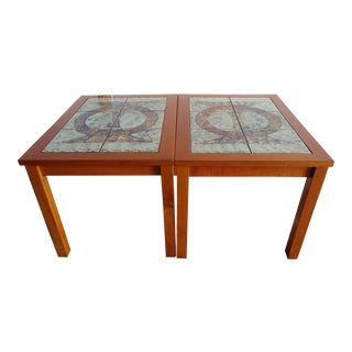 Danish Modern Gangso Mobler Teak and Handpainted Tile End Tables - a Pair For Sale