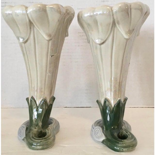 1978 pair of Art Nouveau vases by Fitz and Floyd. Wonderful iridescent glaze finish.