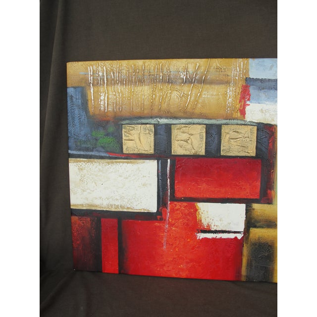 "Abstract B. Young ""Red Black Gold #2"" Abstract Expressionist Oil Painting For Sale - Image 3 of 9"