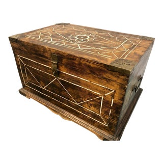 Antique Merchant Money Transport Storage Box With Bone Inlay For Sale