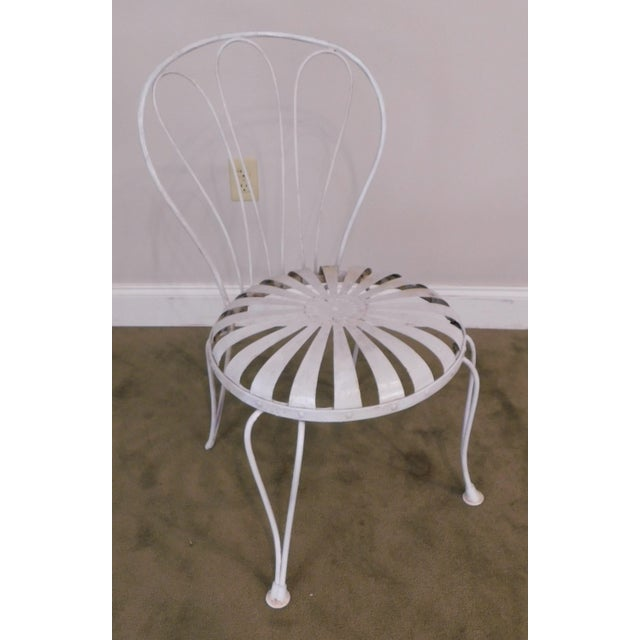 Francois Carre Vintage Pair Painted Pinwheel Iron Garden Chairs After Francois Carre For Sale - Image 4 of 13