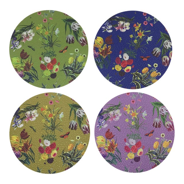 Flora Fauna Coasters, Set of 4 For Sale