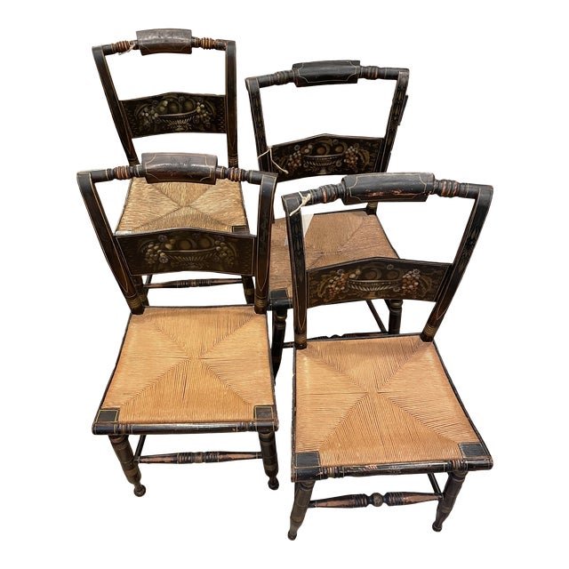 Late 19th Century Hitchcock Style Chairs - Set of 4 For Sale