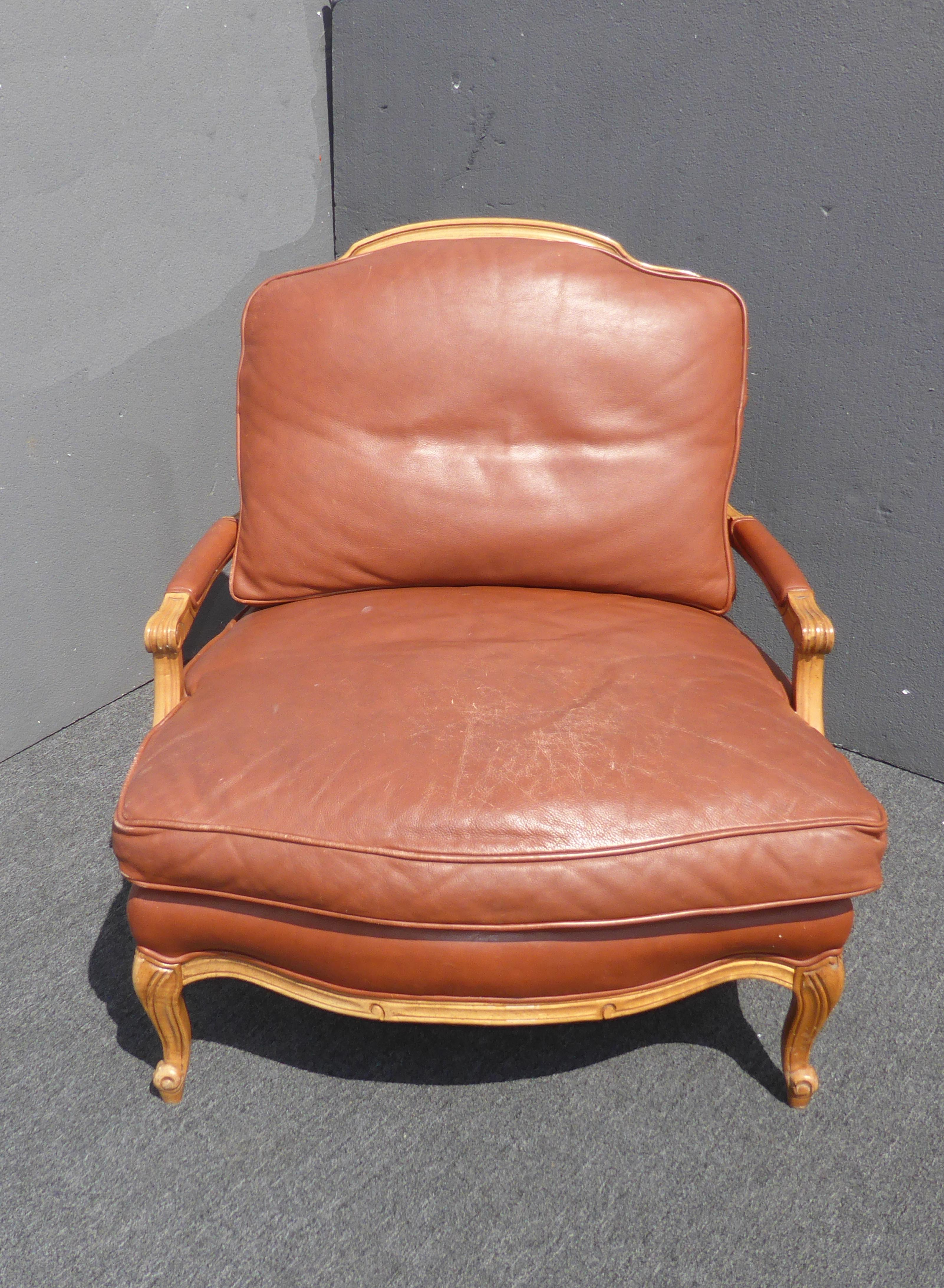 Vintage Sam Moore French Country Style Brown Leather Carved Wood Accent  Chair   Image 5 Of