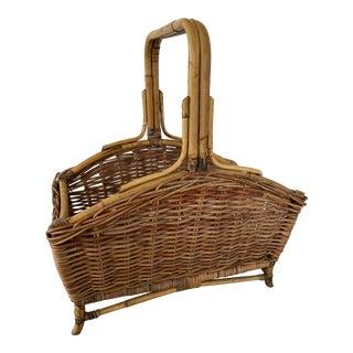 Vintage Wicker Braid Handle Basket For Sale