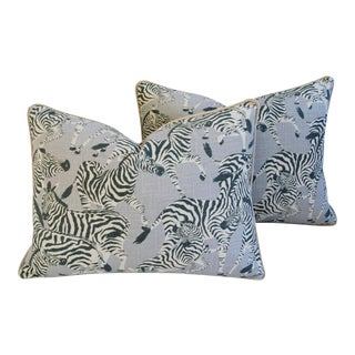 "Custom Safari Zebra Linen & Velvet Down/Feather Pillows 24"" x 18"" - Pair For Sale"