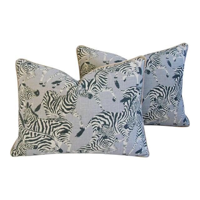 """Custom Safari Zebra Linen & Velvet Down/Feather Pillows 24"""" x 18"""" - Pair For Sale"""