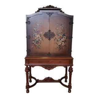 Antique 1920s Hand Painted Closed Door Inlaid Walnut Dining Room China Cabinet For Sale