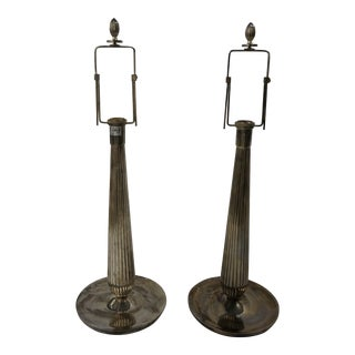 Silver Fluted Lamps - a Pair