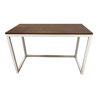 Crate & Barrel Finn Walnut Top + Slated Metal Desk For Sale