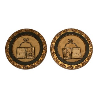Antique Wall Art Plaques - A Pair For Sale