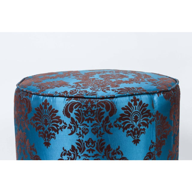 Hollywood Regency Pair of Blue and Brown Upholstered Stools For Sale - Image 3 of 8