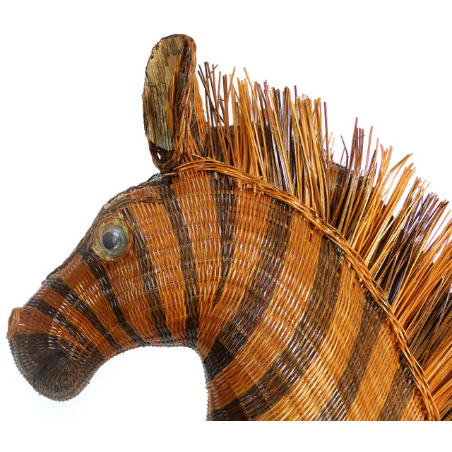 1970s Chinese Woven Reed Zebra Trinket Box For Sale - Image 5 of 13