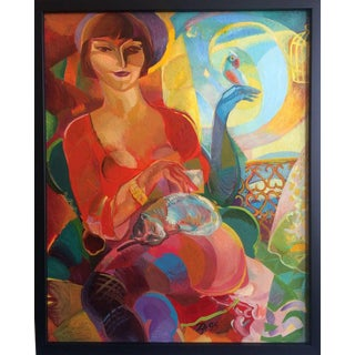 Morning Letter Woman With Cat and Parrot Artist Gregor Zamierowski 1995 For Sale