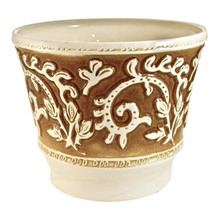 Haeger Brown Scroll Planter