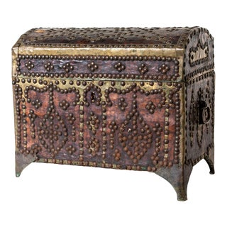 Antique Leather Covered Trunk For Sale