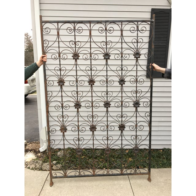 Antique Wrought Iron Decorative Wall Divider - Image 6 of 8