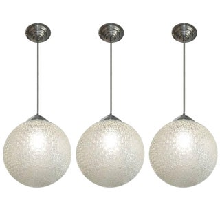 French Modernist Glass Globe Shaped Chandeliers For Sale