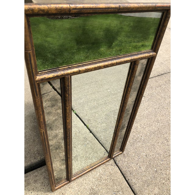 """Faux Bamboo Large 48"""" Chinoiserie Gold Faux Bamboo Mirror W Surrounding Smoked Mirrors-See Pictures For Sale - Image 7 of 10"""