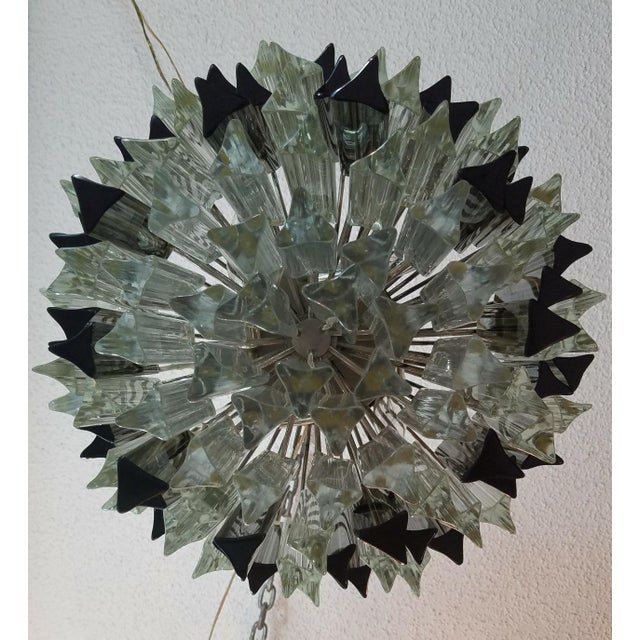 None Mid-Century Modern Venini Clear & Dark Glass Chandelier For Sale - Image 4 of 11