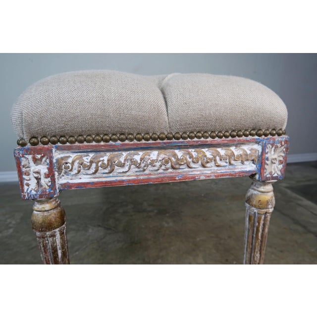 Blue French Louis XVI Style Painted Bench C. 1930 For Sale - Image 8 of 13