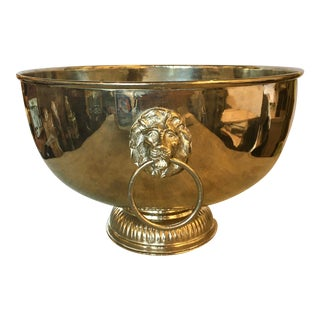 Mid 20th Century Silver Bowl With Lions Heads For Sale