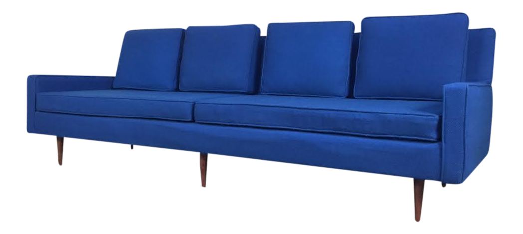 Weiland royal blue mid century modern sofa chairish