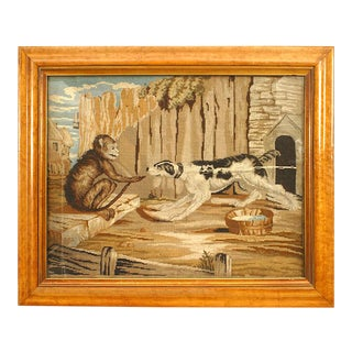 English Country Framed Monkey and Dog Emboidery For Sale