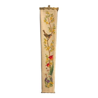 Mid Century Bell Pull Needlepoint With Brass Accents Wall Hanging For Sale