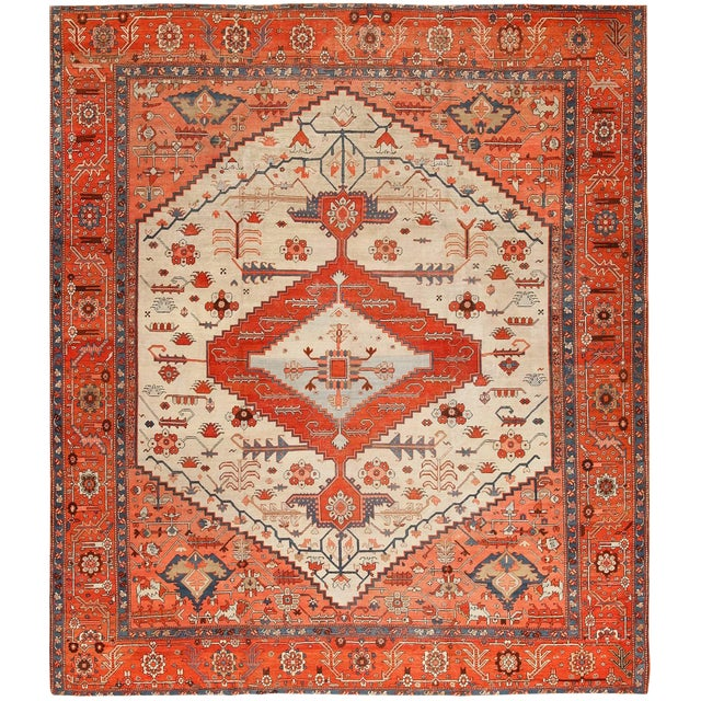 Antique Serapi Persian Ivory Rug - 11′ × 12′6″ For Sale