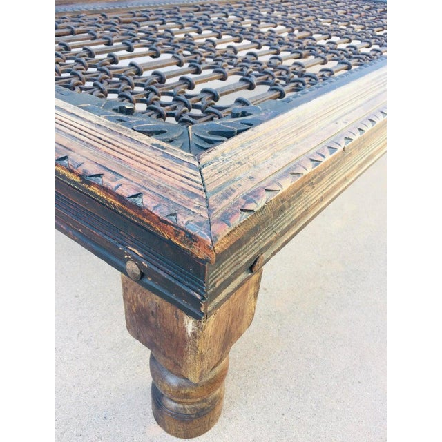 Teak Wood Large Coffee Table With Iron Inset Jali Work For Sale In Los Angeles - Image 6 of 13
